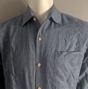 Jospeh Abboud Blue Linen Shirt Size Medium